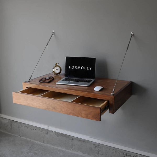 Floating desk with storage drawer