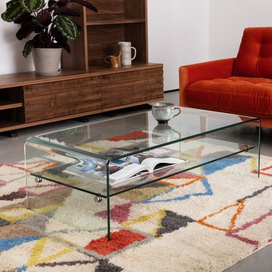 Glass Coffee Table With Shelf