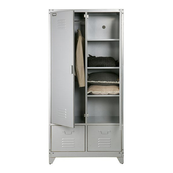 Metal Locker Style Wardrobe in Grey