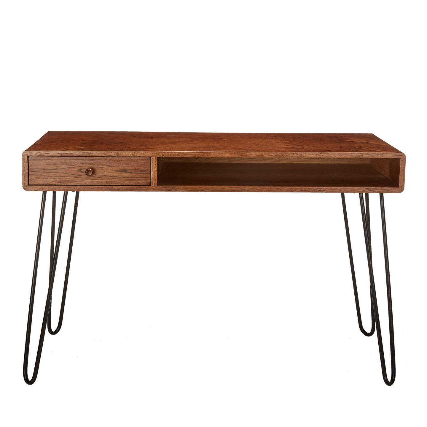 Narrow hairpin leg desk