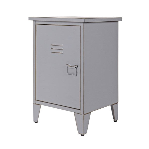 Max Metal Locker Bedside Table in Grey