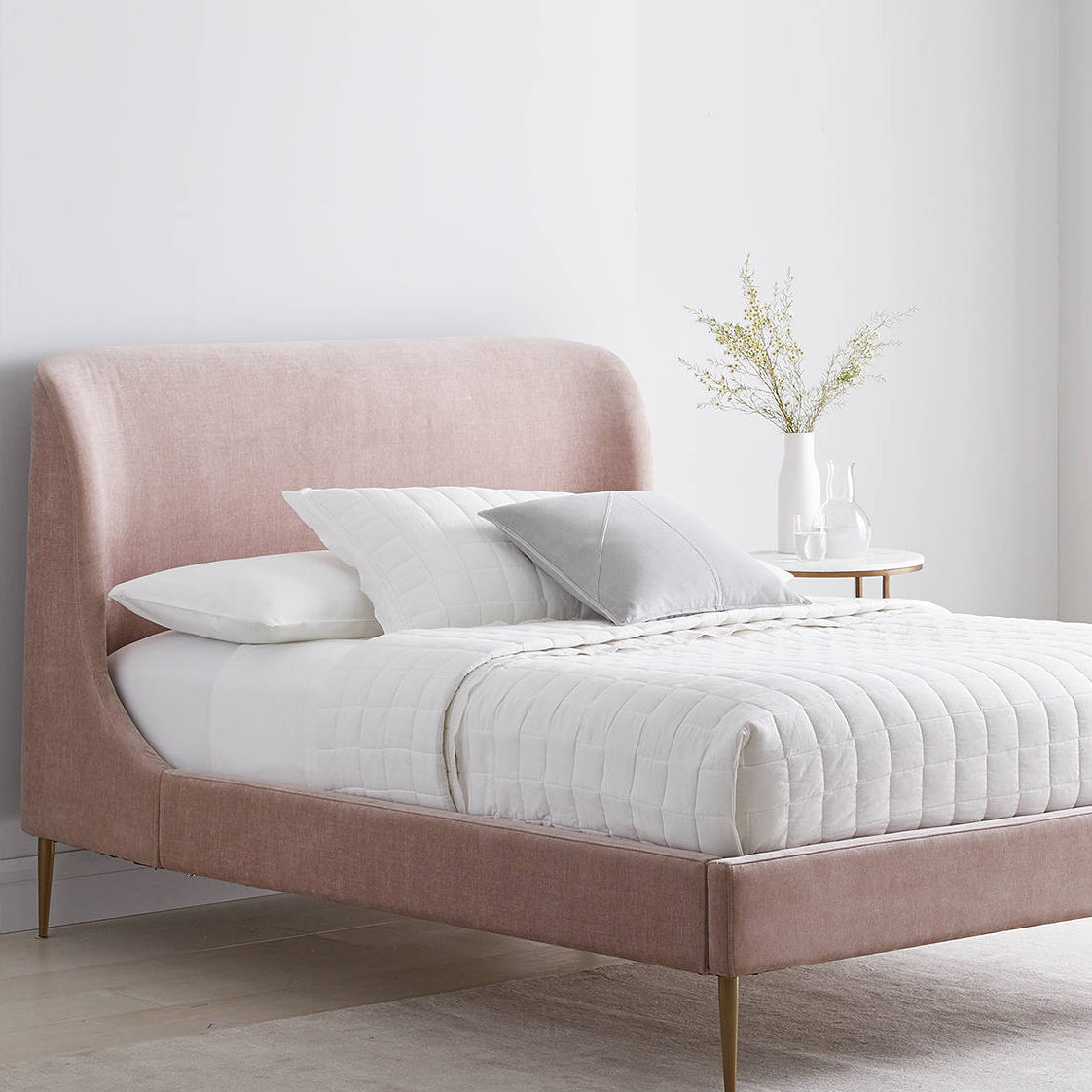 Lana Upholstered Bed Frame, Double, Light Pink