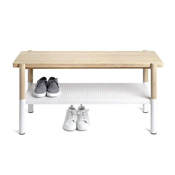 Promenade Bench White/Natural, Wood