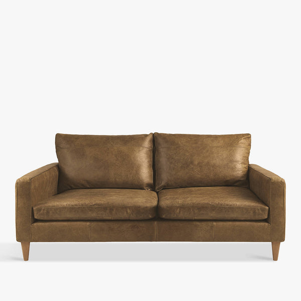 Bailey Small 2 Seater Leather Sofa, Luster Cappuccino, Luster Cappuccino