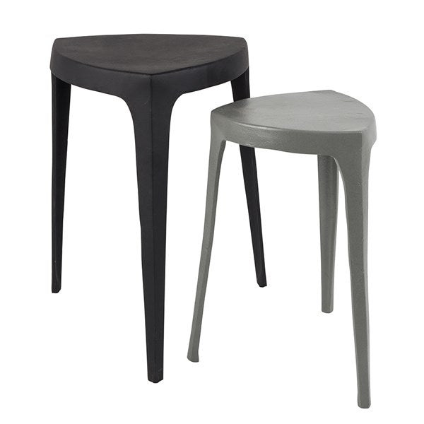 Zuiver Tiga Set of 2 Small Industrial Style Tables in Black & Grey