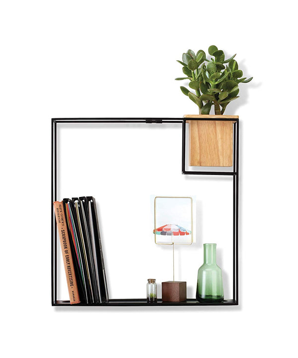 Cubist Floating Shelf with Built-In Succulent Planter