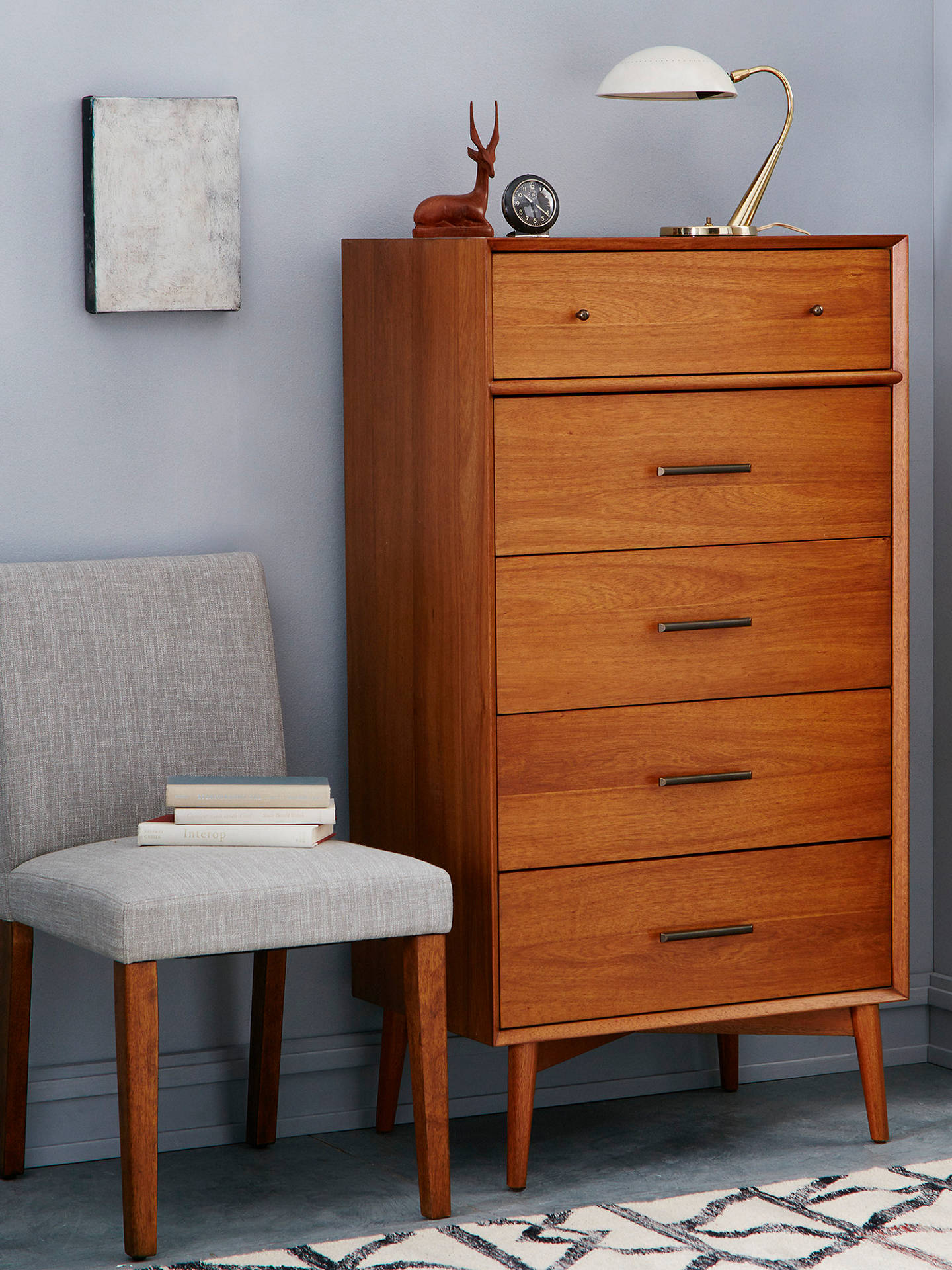 Mid-Century 5 Drawer Chest, Acorn