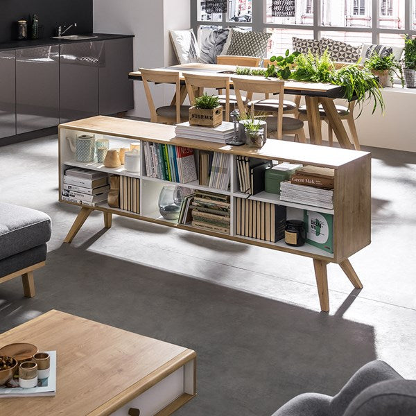 Vox Nature Two Sided Low Shelving Unit in White & Oak Effect