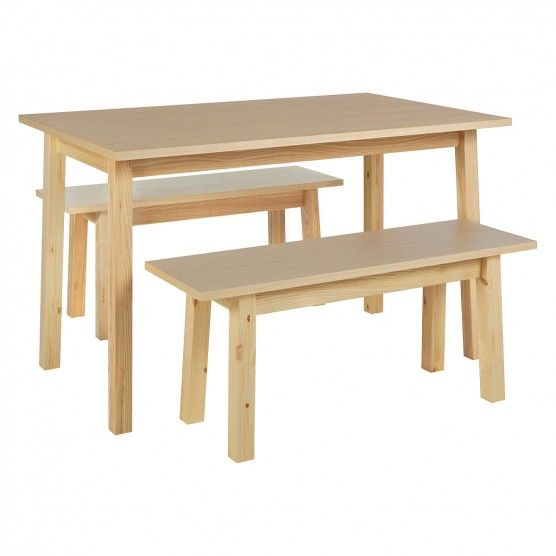 Small wooden dining table and benches