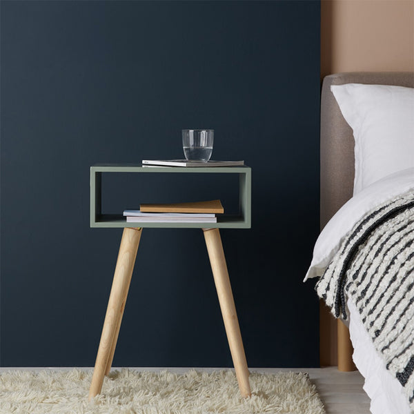 CATO Sage Green Side Table With Storage And Solid Wood Legs