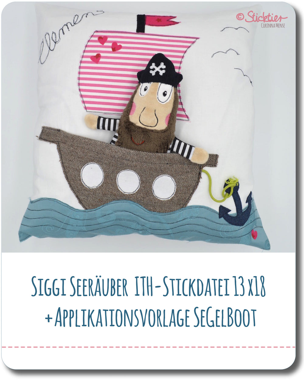 Stickdatei ITH Pirat 13x18 + Applikationsvorlage Segelboot