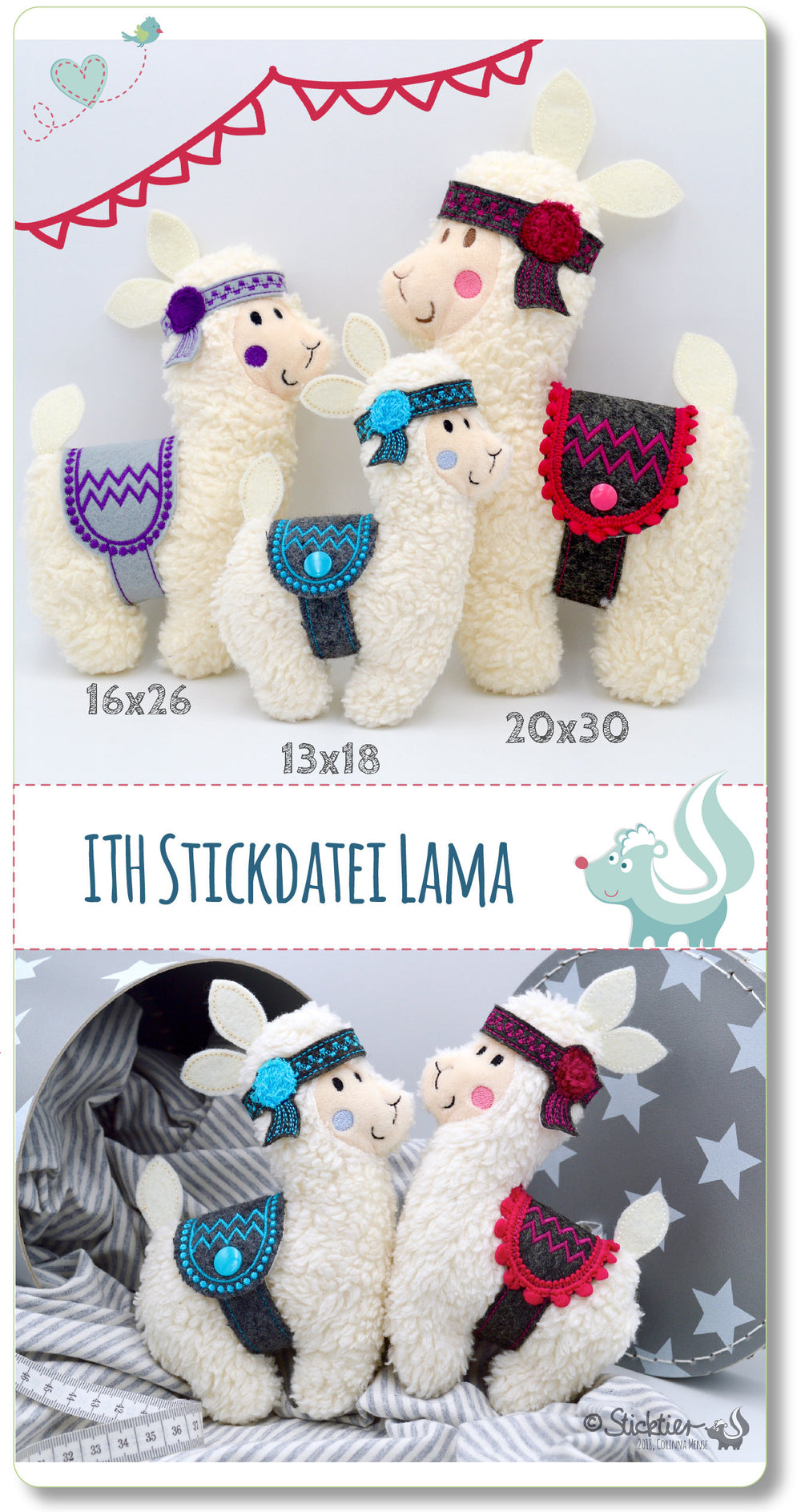 Stickdatei 3er Set ITH Lama 13x18,16x26, 20x30 cm Stickrahmen -Download-