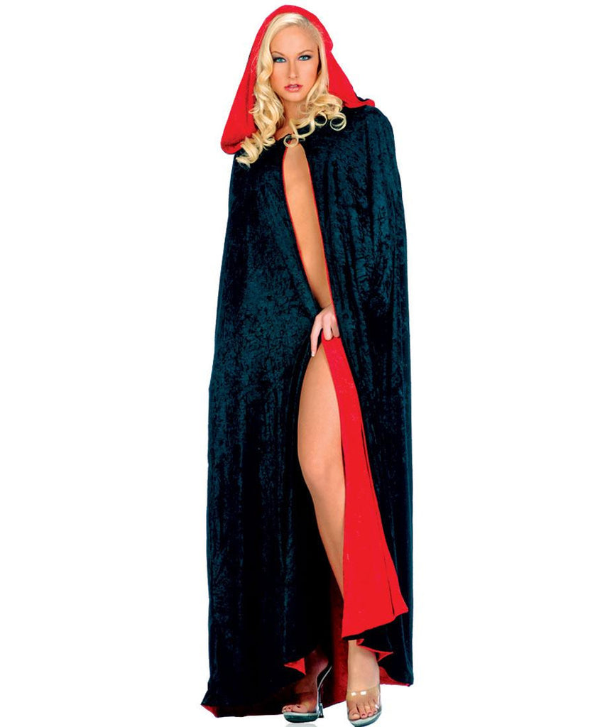 Quality Reversible Black & Red Velvet Cloak