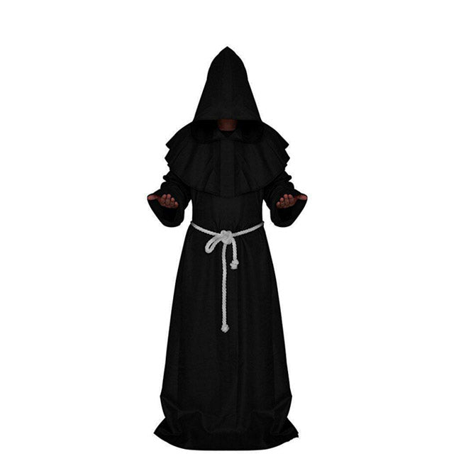 Satanic Monk Black Hooded Robe