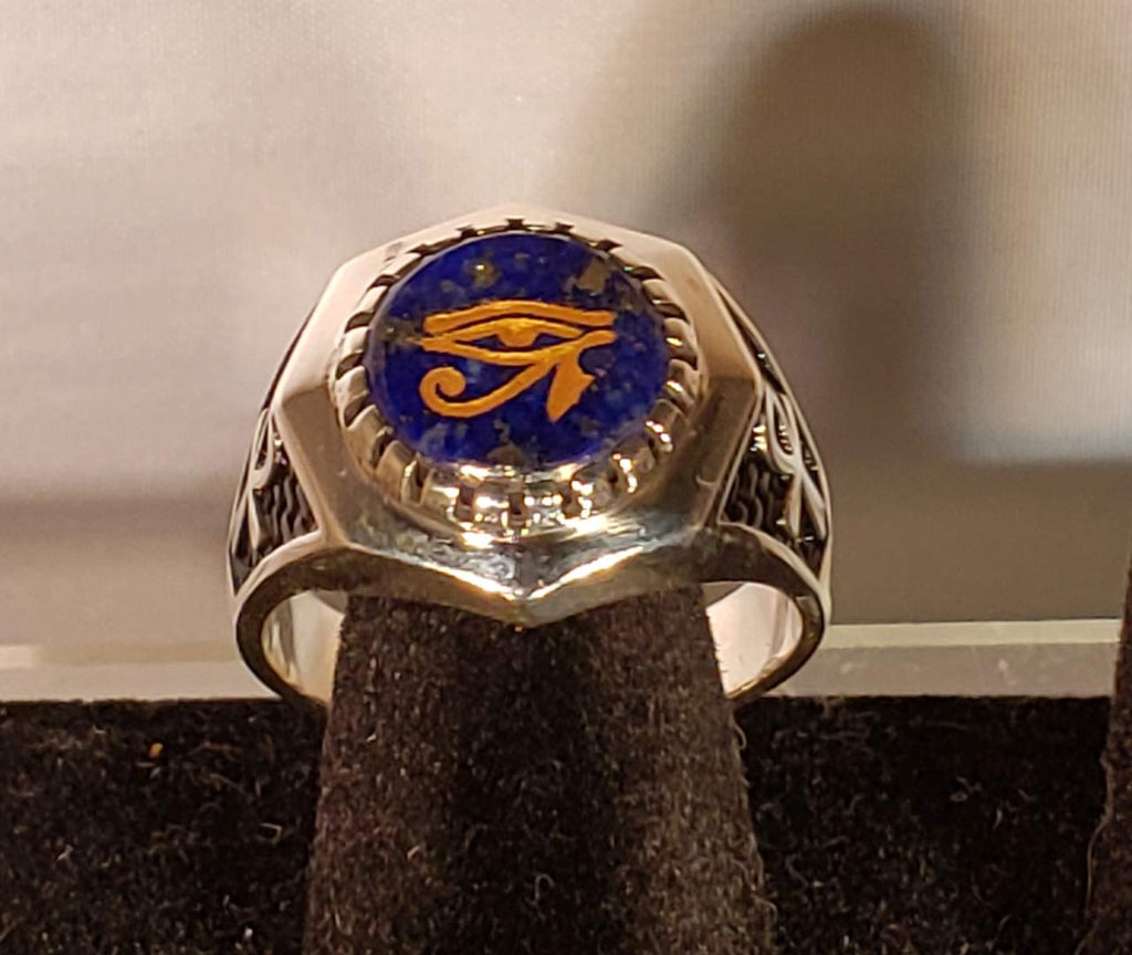 Lapis Lazuli Eye of Horus and Ankh Egyptian Sterling Silver Ring