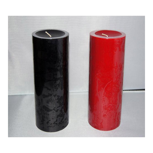 3 x 6 Black & Red Pillar Candles