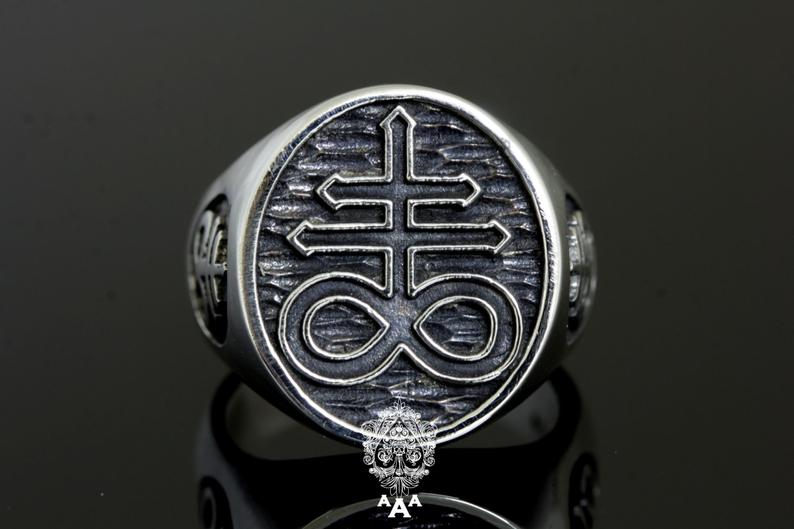 Cross of Leviathan (Sulphur) Ring .925 Silver