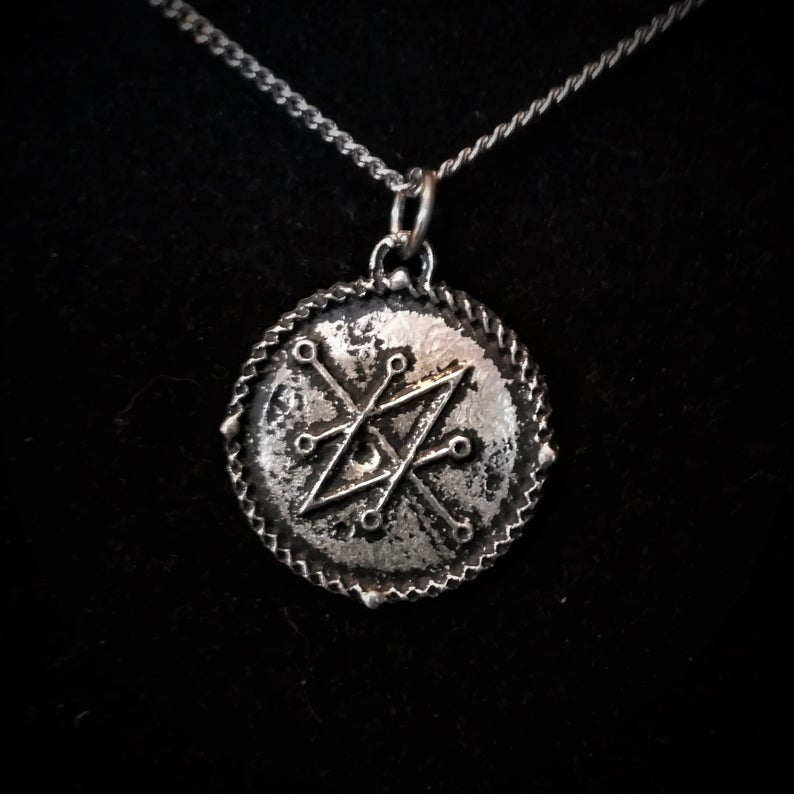 Sigil of Azazel Saturn Seal Pewter Pendant