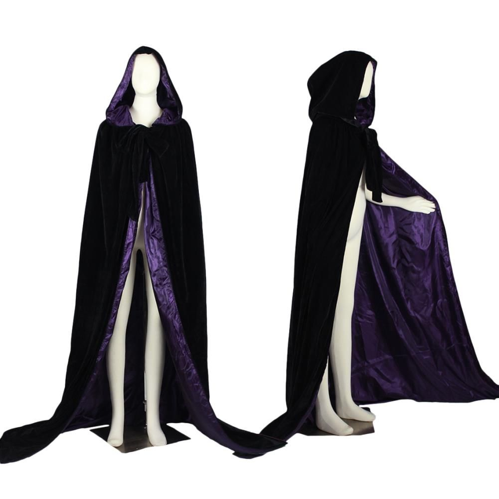Hooded High Quality Black Velvet Cloak w/ Purple Lining Plus Size
