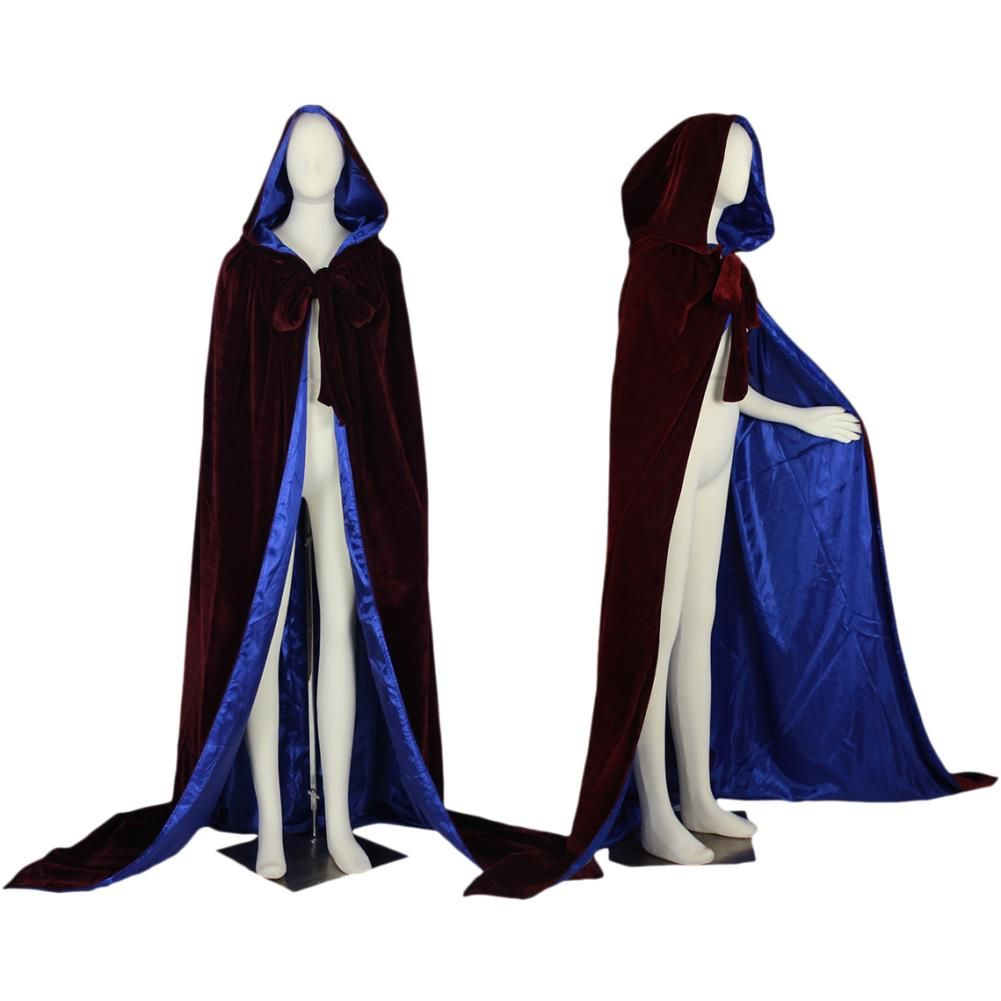 Burgandy Blue Hooded Cloak
