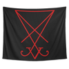 Sigil of Lucifer Red Print on Black Tapestry