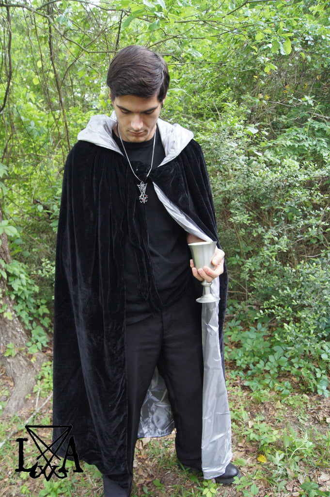 Hooded Black and Silver Grey Cloak