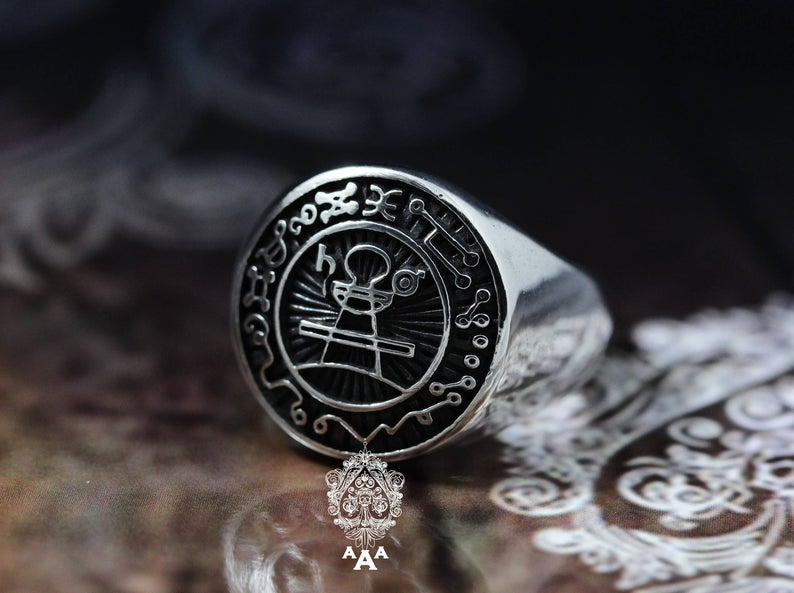 Secret Seal of King Solomon ring,Sterling Silver .925 Black