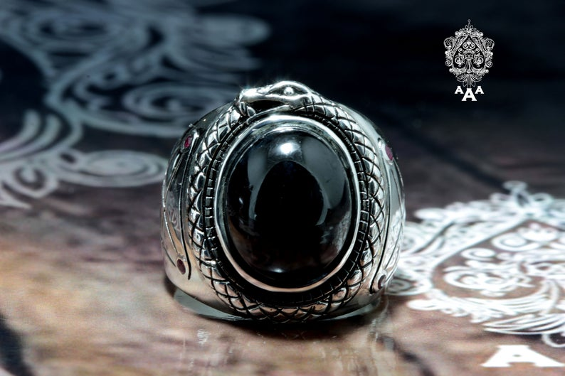 Leviathan Ouroboros Lucifer Sigil Onyx Sterling Silver Ring