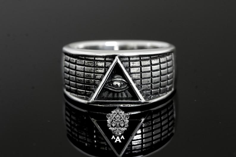 Illuminati Signet Band Ring .925 Silver