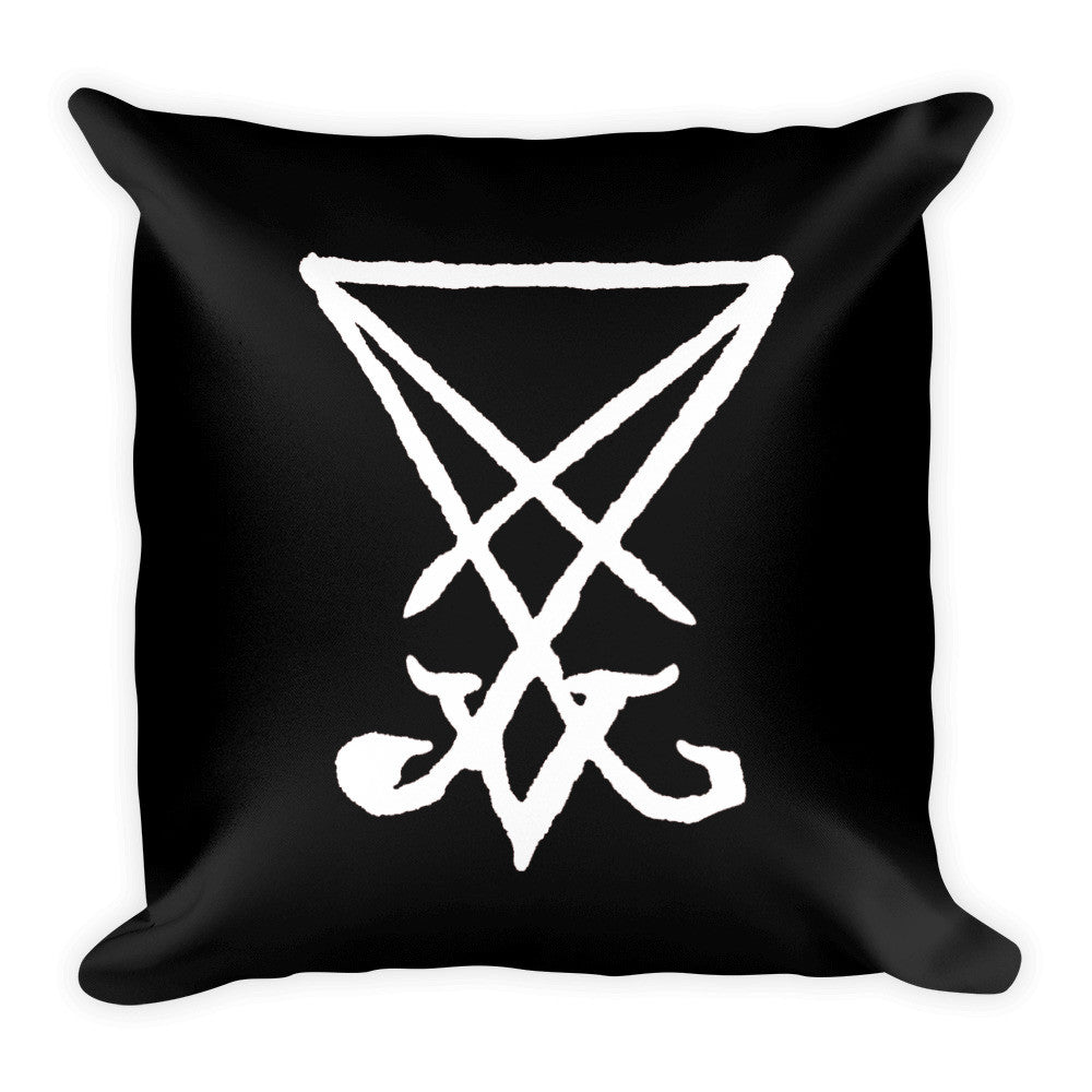 Lucifer Sigil White Print Square Pillow