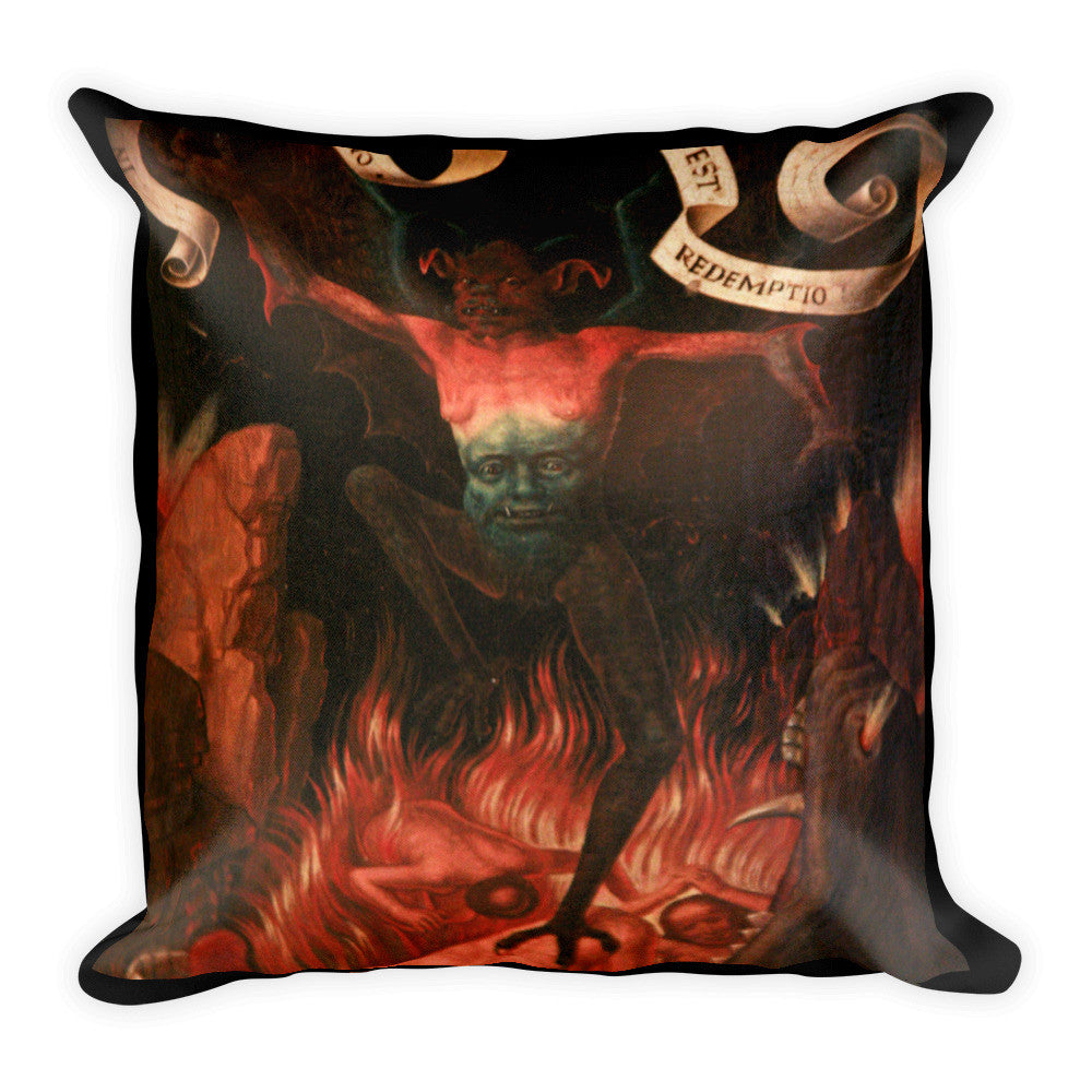 Devil at the Mouth of Hell Square Pillow