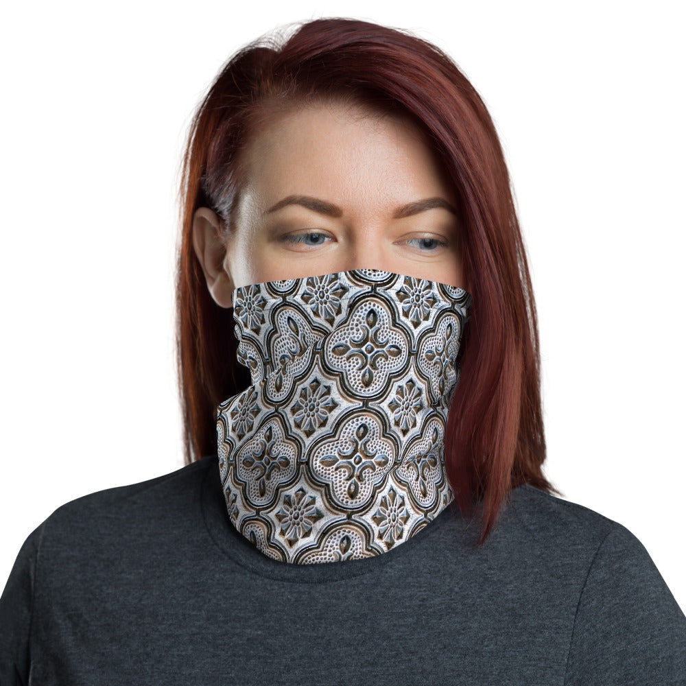 Black & White Victorian Pattern Neck Gaiter