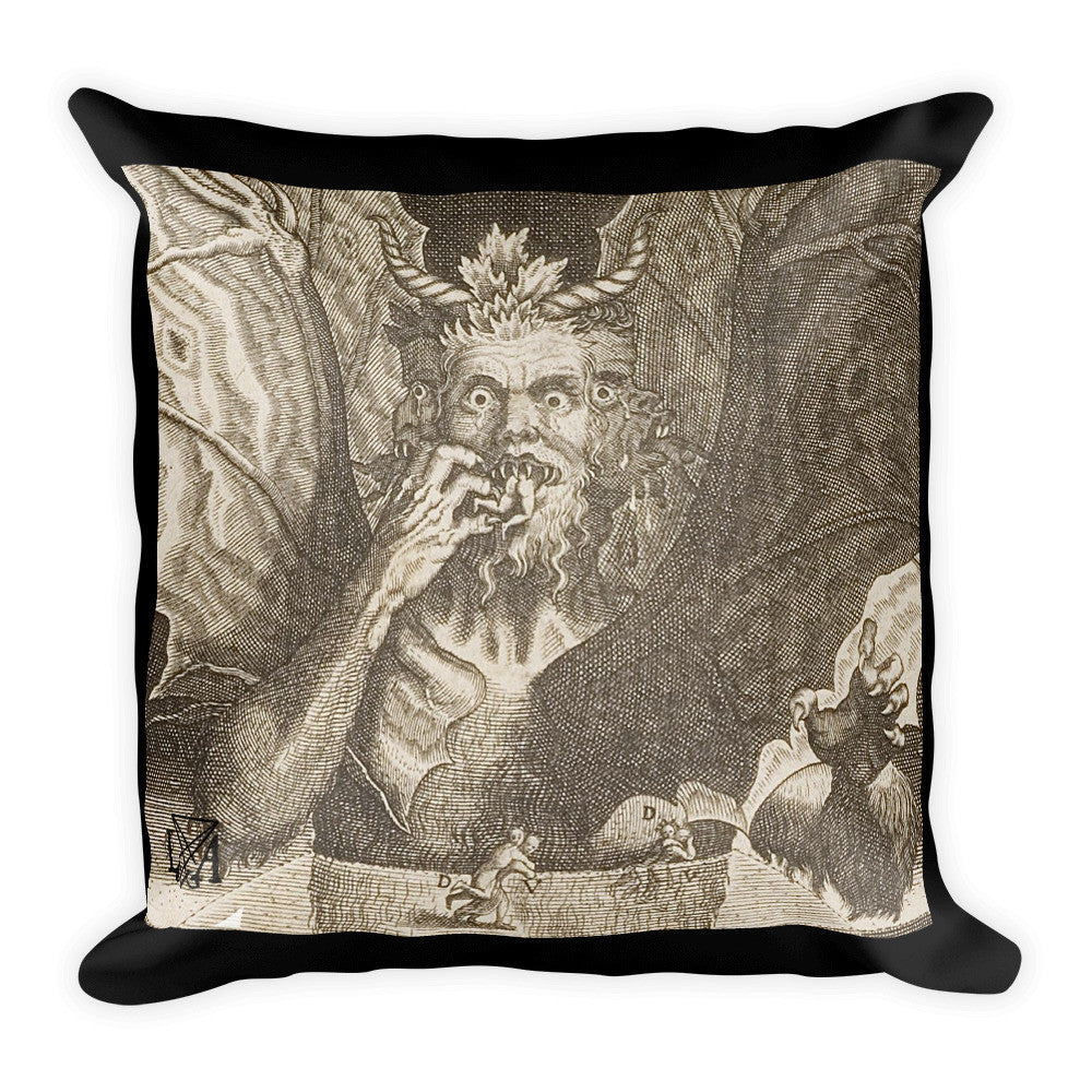 Dante's Lucifer Devouring Souls Square Pillow