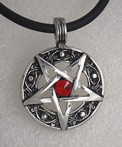 Red Jeweled Inverted Pentagram Pendant