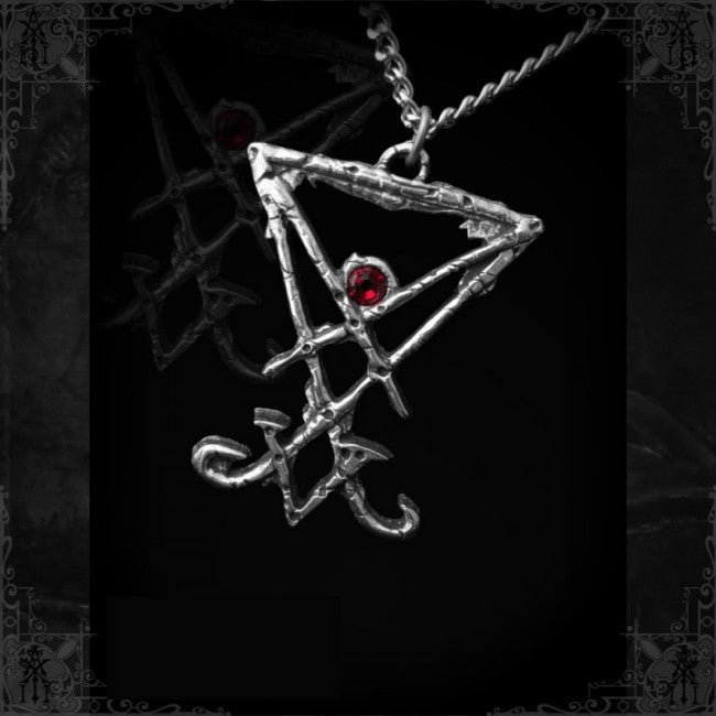Sigil of Lucifer crimson stone necklace