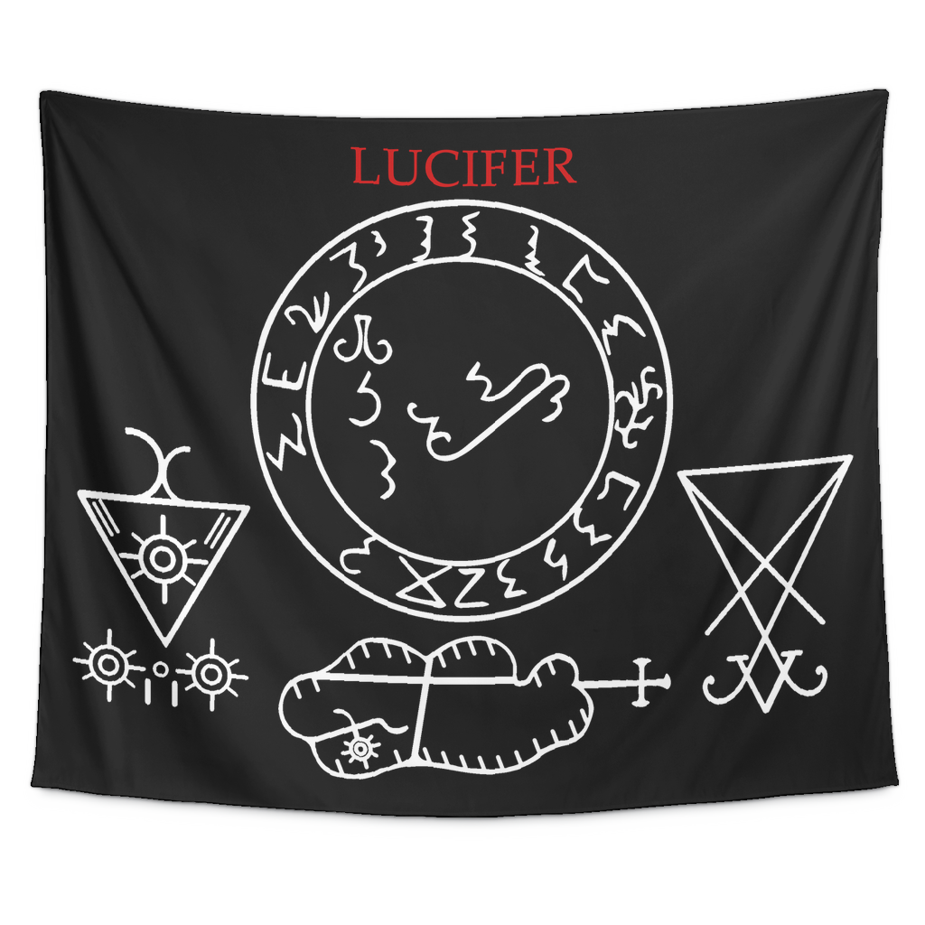 Medieval Lucifer Grimoire Sigil Tapestry The Luciferian