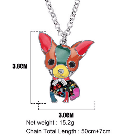 Sitting Chihuahua Enamel Necklace Size