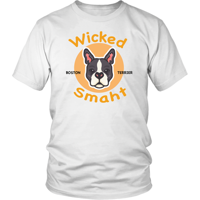 Wicked Smaht Boston Terrier - White Unisex