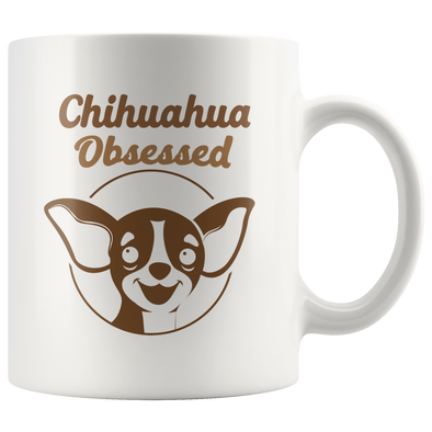 Chihuahua Obsessed Cartoon Mug - White