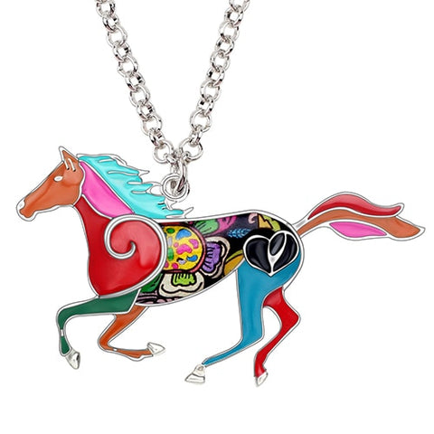 Image of Jumping Horse Enamel Necklace