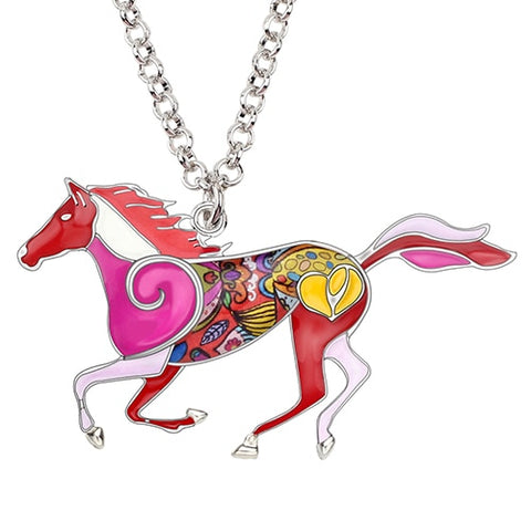 Jumping Horse Enamel Necklace
