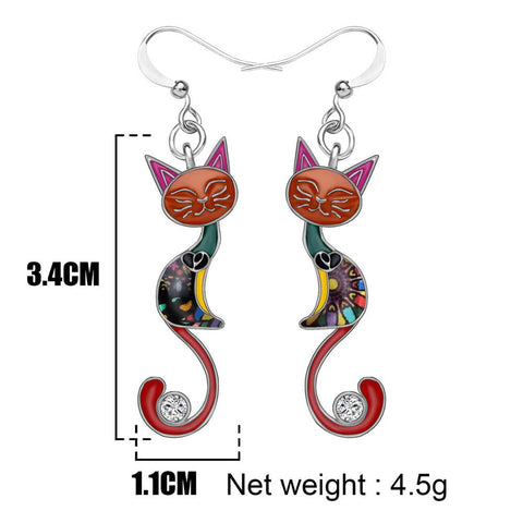 Rhinestone Closed Eyes Cat Enamel Earrings