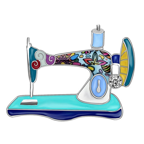 Rhinestone Sewing Machine Enamel Brooch