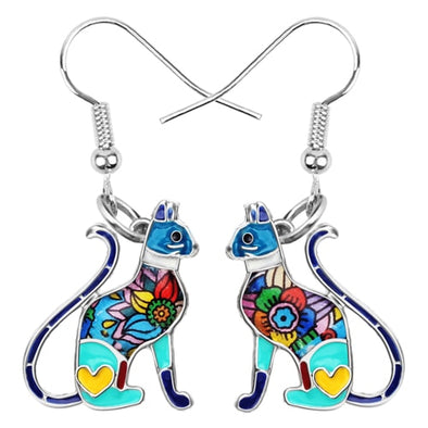 Floral Kitten Enamel Earrings