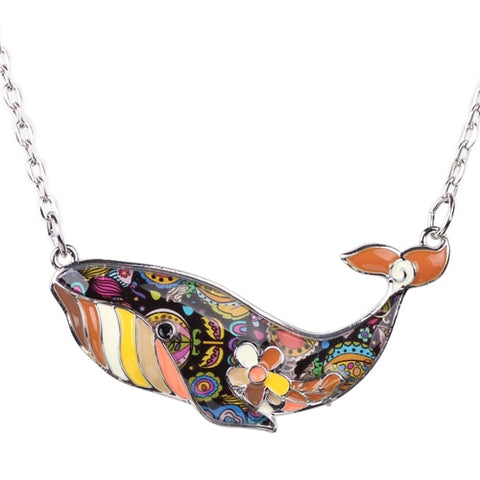Image of Whale Enamel Necklace