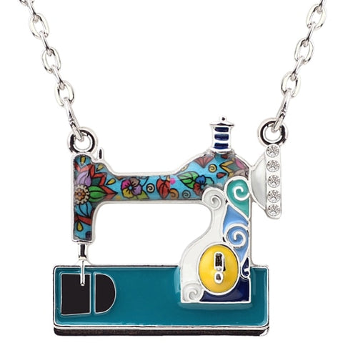Sewing Machine Enamel Necklace