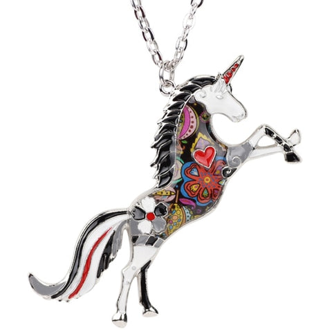 Image of Horse Unicorn Enamel Necklace