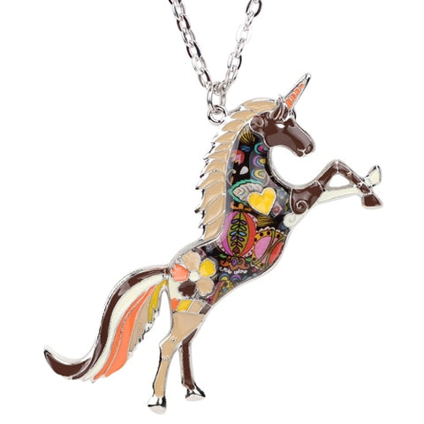 Horse Unicorn Enamel Necklace