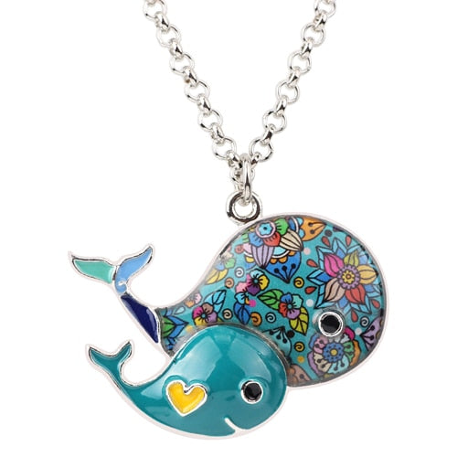 Whales Enamel Necklace