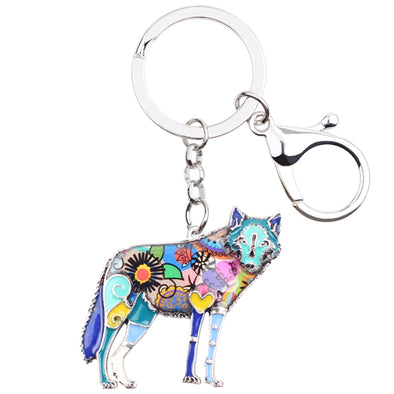 Wolf Enamel Key Chain